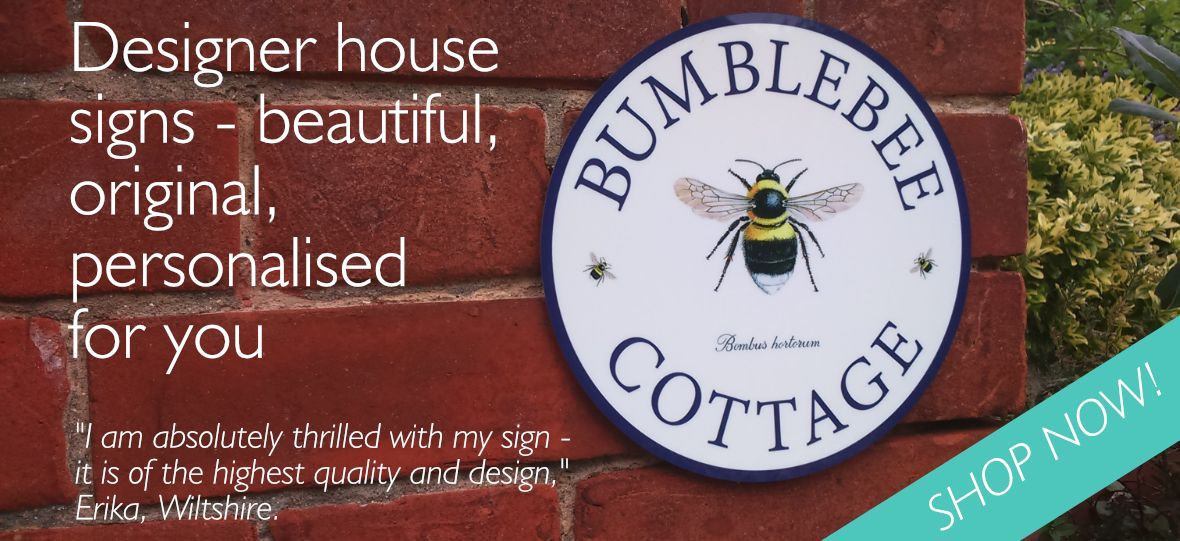 House sign with bumblebee designer image