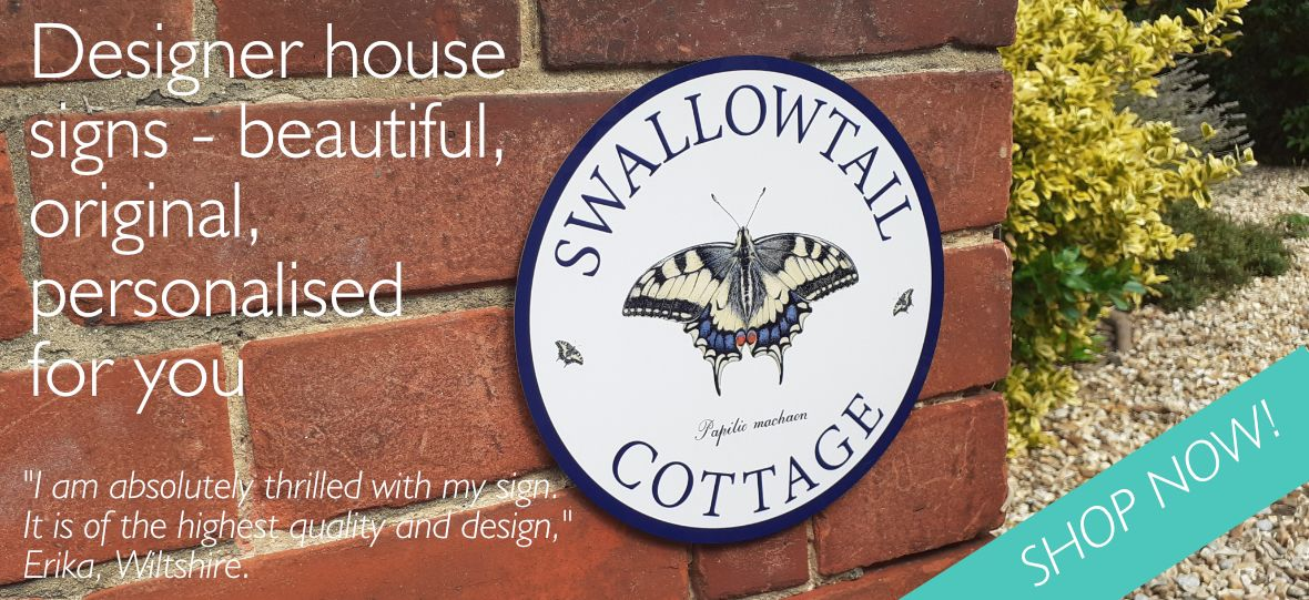 House sign with swallowtail butterfly image